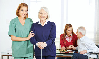 family caregiver attending her patients